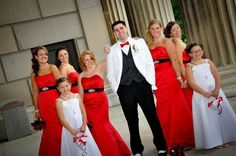 Red black white old Hollywood bridal party