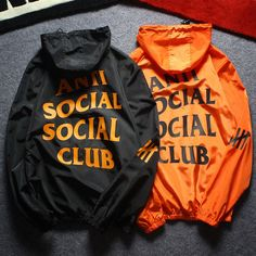 Anti Social Social Club Woman Men Fashion Zipper Hooded Sport Cardigan Jacket Coat Windbreaker from Best Seller. Saved to clothes. Team Jackets, Men's Coats And Jackets, Going Out Outfits, Cool Outfits, Anti Social Social Club, Black Windbreaker, Look Cool, Sport, Ideias Fashion