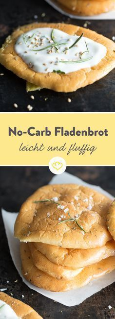 Cloud Bread: Glutenfreies Fladenbrot ohne Kohlenhydrate For this low-carb flatbread you only need four ingredients and no flour: eggs, baking powder, honey and cream cheese and you conjure up your gluten-free bread. Low Carb Flatbread, Gluten Free Flatbread, Cloud Bread, Menu Dieta Paleo, Pan Nube, Law Carb, Low Carb Recipes, Healthy Recipes, Bread Recipes