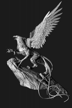 My quick sculpt Griffin. Magical Creatures, Fantasy Creatures, Griffin Mythical, Greek Mythology Tattoos, Zbrush Character, Rare Animals, Mythological Creatures, Creature Design, Painting Inspiration
