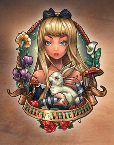 Follow The White Rabbit. Art Print by Tim Shumate... Stylized Alice... amazing...