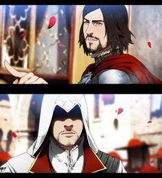 Tags: Anime, Gobeur, Assassin's Creed, Assassin's Creed: Brotherhood, Cesare Borgia (Assassin's Creed), Ezio Auditore Da Firenze, Facial Hair