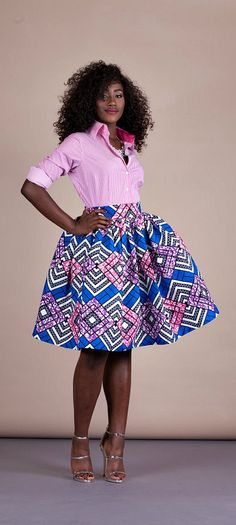 """Demi Skirt. Relaxed yet sophisticated and, best of all, universally flattering – just look how it nips in the waist – a full, high waisted skirt is an instant game-changer with two side pockets and approximately 2"""" waist band. Ankara 