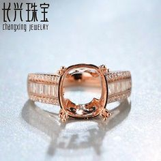 9x11mm Cushion14kt Rose Gold 0.78ct Pave H SI Diamond Vintage Semi Mount Ring