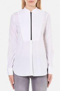 Karl Lagerfeld Women's Poplin Tunic Shirt - White - IT 42/UK 10 https://modasto.com/karl-ve-lagerfeld/kadin-ust-giyim-gomlek-bluz/br4378ct4