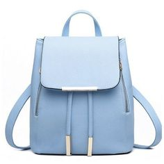 PU Leather Backpack Women's Backpack Schoolbags Travel Shoulder Bag... (£14) ❤ liked on Polyvore featuring bags, travel shoulder bags, travel rucksack, pu leather backpack, rucksack bag and blue bag
