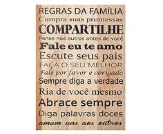 Quadro regras da família - 35x25cm