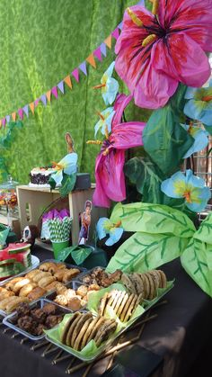 Sweet/Dessert table.  The Croods theme...also suitable for any jungle/tropical theme party.