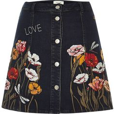 River Island Black floral embroidered A-line denim skirt (1,085 MXN) ❤ liked on Polyvore featuring skirts, bottoms, river island, black, sale, women, button front denim skirt, knee length denim skirt, denim skirt and knee length a line skirt