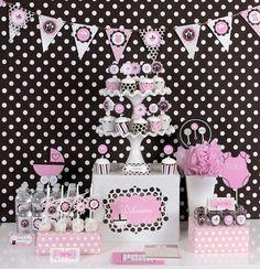 Pink, black and white polka dot shower decor