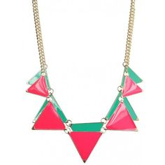 Neon Triangle Enamel Necklace$14.9 ($15) ❤ liked on Polyvore