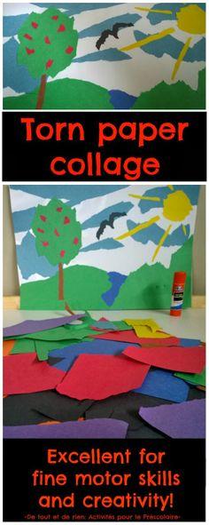 Torn paper collage craft. Excellent for fine motor skills.