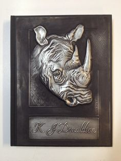 Beloved Rhino, a pewter journal cover done by Mary Ann Lingenfelder www.mimmic.co.za