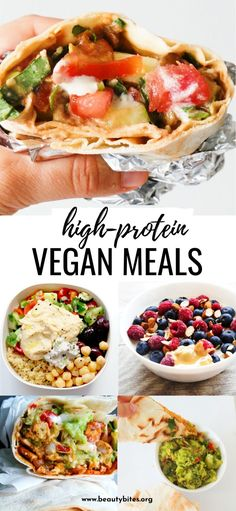 15 Easy High-Protein Vegan Recipes - Beauty Bites - 15 high-protein vegan meals to add to your meal plan this week! These easy and healthy plant based recipes include breakfast, lunch and dinner and you'll love them even if you're not vegan! High Protein Vegan Recipes, Vegan Recipes Plant Based, Vegan Dinner Recipes, Vegan Foods, Vegan Dinners, Whole Food Recipes, Breakfast Recipes, Plant Based Dinner Recipes, Vegan Food Recipes