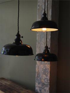 abat jour emaille lampe industrielle noire