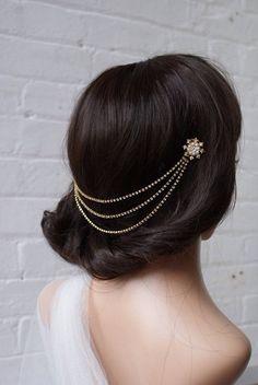 Gold Headpiece with pearls Bohemian Wedding Headpiece Gold