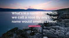 """William Shakespeare Quote: """"What's in a name? that which we call a rose By any other name would smell as sweet."""" 