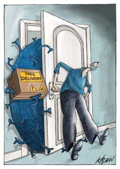 Corona virus, Cartoon by Hilal Ozcan. A cartoon about Corona, Corona Virus, Coronavirus. Dark Art Drawings, Art Drawings Sketches, Cartoon Drawings, Cartoon Kunst, Cartoon Art, Art And Illustration, Drawing Competition, Satirical Illustrations, Nurse Art