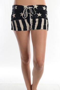 Super rad American flag loop terry short with Adjustable Drawstring At Waist.