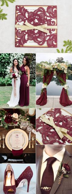 Burgundy and Gold Inspired Wedding Idea and Matched Invitation