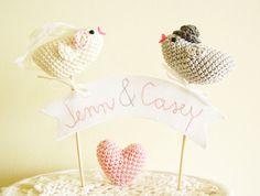 Wedding Cake Topper with Crochet Birds / Name Cake Topper /