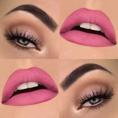 Nude eye makeup and matte pink lips Cute Makeup, Lip Makeup, Makeup Brushes, Makeup Goals, Makeup Tips, Makeup Ideas, Makeup Trends, Maquillage Yeux Cut Crease, Spring Eye Makeup