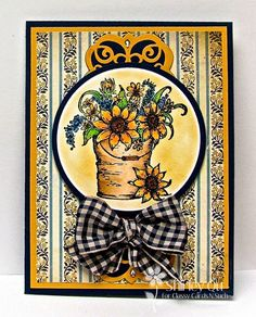 Shirley Qu for Classy Cards 'n Such: Bucket Of Sunflowers - 2/13/15  (Heartfelt Creations stamp: Sunflower Bouquet)