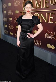 Eye-catching: Emilia Clarke also brought her fashion A-game turning heads in a short sleev...