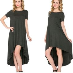 Gray High Low Maxi Dress Dress features a relaxed fit. Pull over styling with high-low hemline. Dresses Maxi