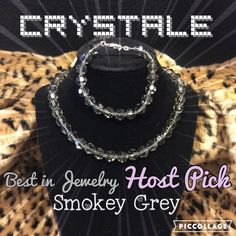 """HPCrystale by L&J Necklace/Bracelet set NWT Best in Jewelry Host Pick 02/09/16It is difficult to capture on the camera just how beautiful and sparkly this necklace and bracelet are. They are made of highest-quality genuine Swarovski crystals in a lovely iridescent smoke color. The necklace is 15"""" long and adjustable for 2"""" more if desired. The bracelet is 7"""" long. These pieces are brand new with the tag still attached to the necklace. The bracelet is missing its tag. Crystale by L&J Jewelry…"""