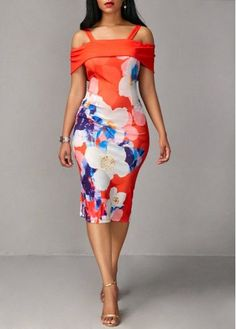 Short Sleeve Strappy Cold Shoulder Flower Print Sheath Dress, party dress, elegant dress, club dress, free shipping worldwide, check it out.