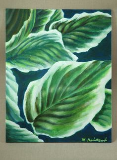 """Hosta Leaves Original Acrylic Painting 8"""" x 10"""" by dragonbee on Etsy"""