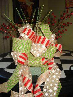 Whimsical Burlap Ribbon Tree Topper by SmylesStyles on Etsy, $28.00