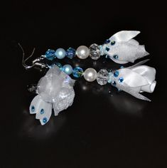 Ice collection '' Ice Rose '' fantasy earrings by RikaUnicaJewellery on Etsy
