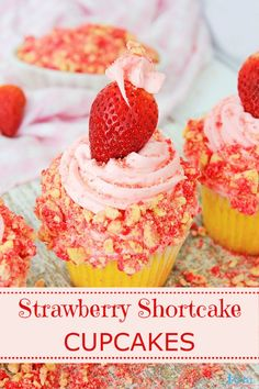 If you are looking for a delightful dessert then look no further than these delicious Strawberry Shortcake Cupcakes! They are melt-in-your yummy! Strawberry Crunch Cake, Strawberry Shortcake Cupcake, Strawberry Dessert Recipes, Cupcake Recipes, Baking Recipes, Cupcake Cakes, Strawberry Cupcakes, Mocha Cupcakes, Banana Cupcakes