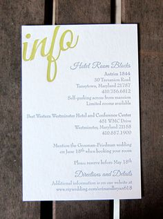 wedding info cardlove how directions and details are only included on website