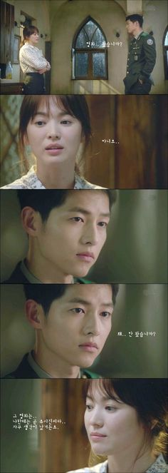 Ep 4 ~ You can literally see the moment when he realises that she still likes him #descendants of the sun #song joong ki #song hye gyo