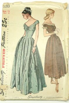 1940s Evening Dresses, Vintage Evening Gowns, Vintage Ball Gowns, Vintage Prom Dresses, 1940s Dresses, Pageant Dresses, Evening Dress Patterns, Vintage Dress Patterns, Dress Sewing Patterns