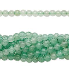 Green aventurine has a shimmering iridescence and a semitranslucent appearance. Aventurine is a metamorphic rock, meaning it is made up of more than one mineral. Green aventurine is mostly quartz with the glistening effect coming from tiny inclusions of shiny mica minerals. A beautiful polish and smooth finish. The alluring green tones vary slightly on each strand.<br /><br />Promotional-quality gemstones (C grade) in bulk package sizes of ten 16-inch strands for an unbeatable value. Ideal…