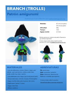 Branch Trolls, Amigurumi Toys, Tutorial, Doll Accessories, Lana, Crochet Hats, Dolls, Pattern, Animals