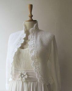 Wedding Jacket Hand Knitted Sweater Knitting Cardigan Crochet Border 3/4 Sleeve Bolero Shrug Made to Order
