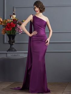 Sheath/Column One-Shoulder Sleeveless Long Chiffon Dresses