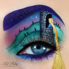 This makeup masterpiece features an amazing display of artistry with the perfect execution of using makeup products to create art with Rapunzel as inspiration. See it here.