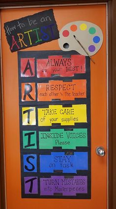 Art masters in early elementary: art history 101 Art Classroom Posters, Art Classroom Decor, Art Room Posters, Art Classroom Management, Classroom Ideas, Classroom Door, Class Management, Elementary Art Rooms, Art Lessons Elementary