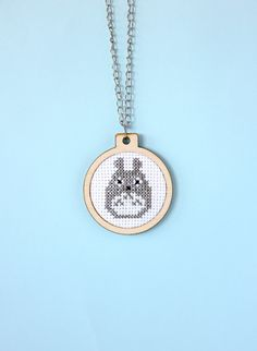 Totoro Necklace pendant embroidery cross stitch by SandraandStitch