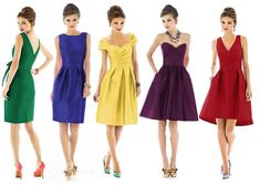 Fab styles for bridesmaid dresses. Maybe in the same colour but different shades?