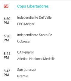 Jornada de la #CopaLibertadores de hoy