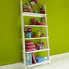 Ladder style bookshelves for children's rooms. Childrens Shelves, Childrens Bedroom Storage, Childrens Bedroom Furniture, White Bedroom Furniture, Kids Furniture, Kids Bedroom, Bookcase Desk, White Bookshelves, Bookshelves Kids