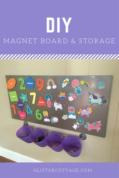A fun activity for little ones featuring a magnet board, adorable magnets and storage!  #toddler #DIY