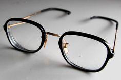 54bebd3bd6 vintage  80s men s eyeglasses black acetate and gold metal from  35.5